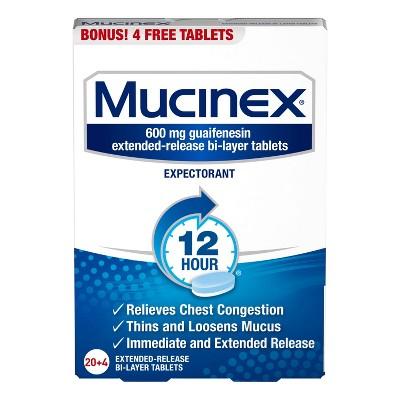Mucinex Guaifenesin Regular Strength Tablets - 24ct