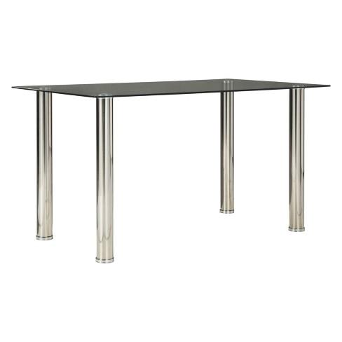 Sariden Rectangular Dining Room Table Clear Chrome Signature Design By Ashley