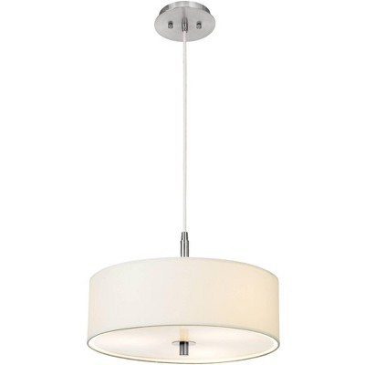 "Possini Euro Design Brushed Nickel Drum Pendant Chandelier 16"" Wide Modern White Fabric Shade for Dining Room House Foyer Kitchen"