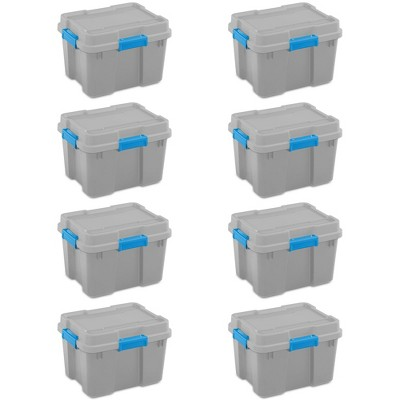Sterilite 20 Gallon Heavy Duty Plastic Gasket Tote Stackable Storage Container Box with Lid and Latches for Home Organization, (8 Pack)