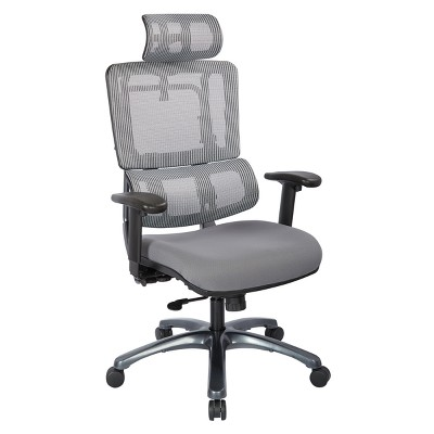 Vertical Mesh Back Chair With Titanium Base And Steel Mesh Seat With  Headrest Gray   OSP Designs
