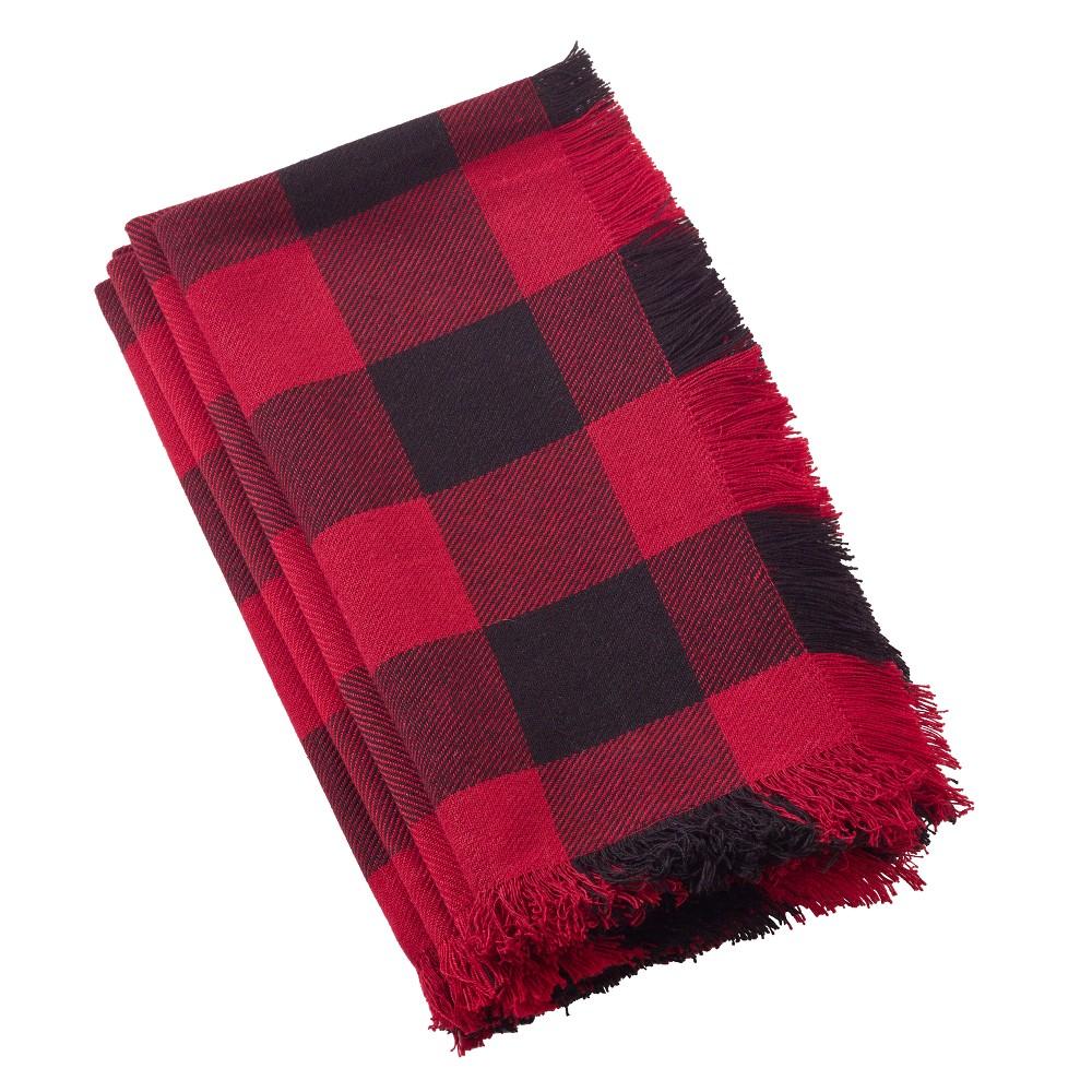 4pk Cotton Buffalo Plaid Classic Design Casual Fringed Napkin Red Saro Lifestyle