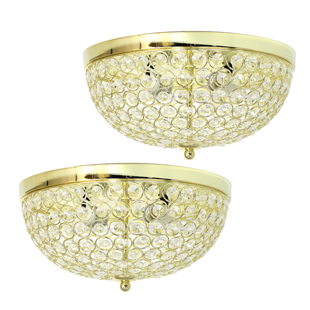 Image of 2pk Elipse Crystal Flush Mount Ceiling Light Gold - Elegant Designs
