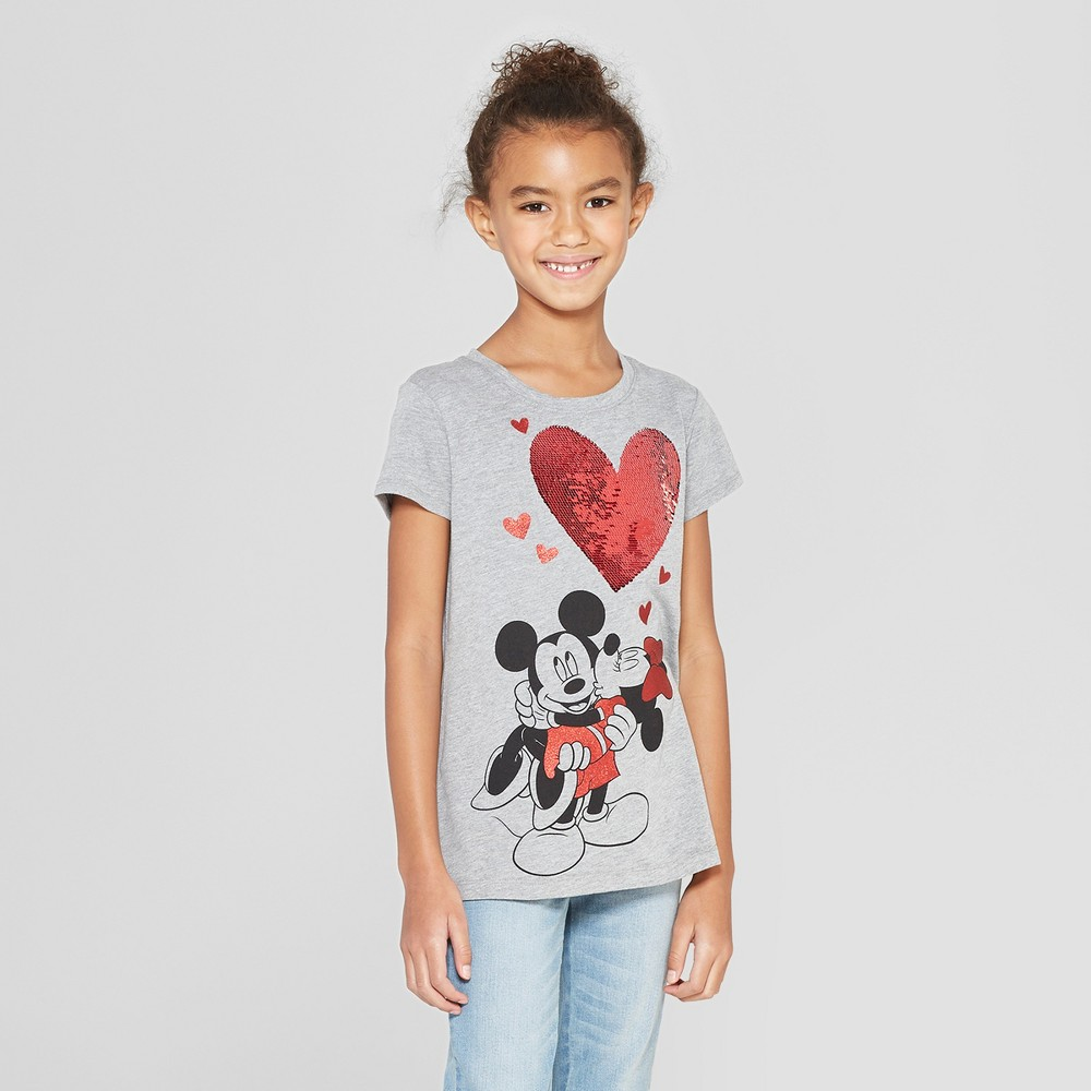 Girls' Disney Mickey & Minnie Valentine's Day Flip Sequin Short Sleeve T-Shirt - Heather Gray M