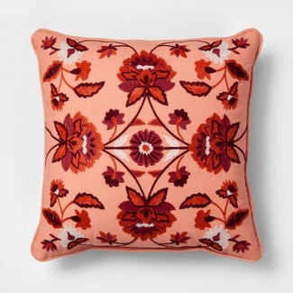 Embroidered Floral Medallion Square Throw Pillow Red - Threshold™