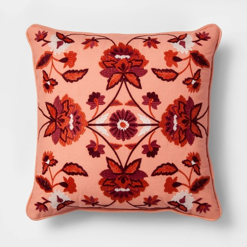 Embroidered Floral Medallion Square Throw Pillow Red - Threshold™ - image 1 of 2