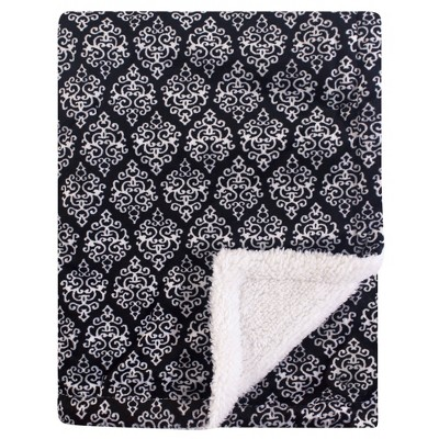 Yoga Sprout Unisex Baby Mink and Sherpa Plush Blanket - Damask One Size