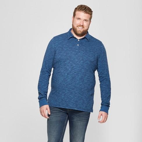 Men's Big & Tall Striped Standard Fit Long Sleeve Jersey Polo Shirt - Goodfellow & Co™ Xavier Navy 2XBT - image 1 of 3