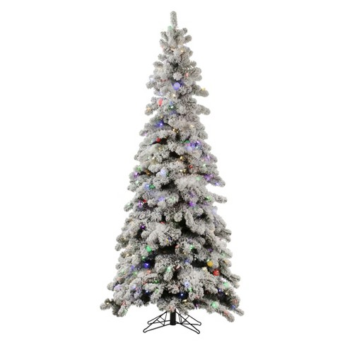 5ft Pre-Lit LED Artificial Christmas Tree Slim Flocked Kodiak Spruce - Multicolored Lights : Target