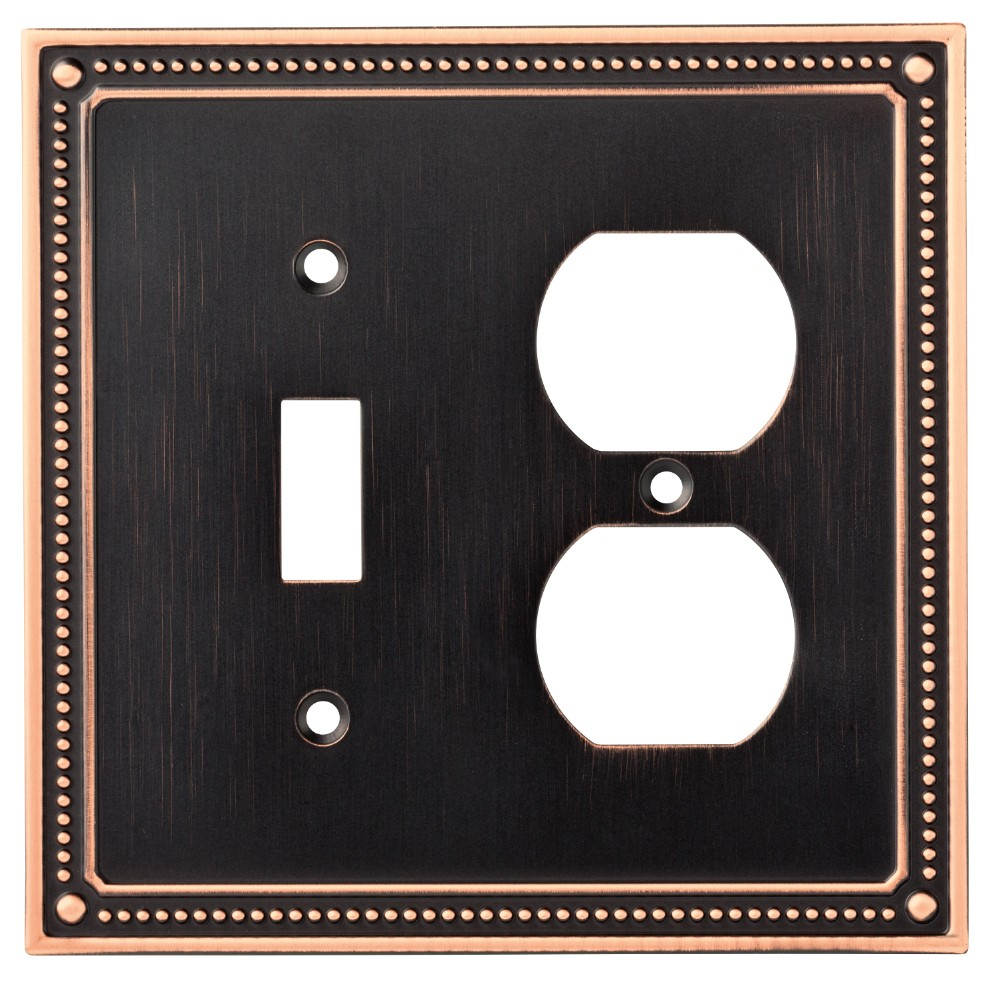 Classic Beaded Switch/Duplex Wall Plate Bronze With Copper Highlights - Franklin Brass