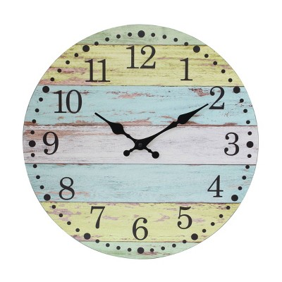 """14"""" Round Vintage Farmhouse Wall Clock Light Blue/Yellow - Stonebriar Collection"""