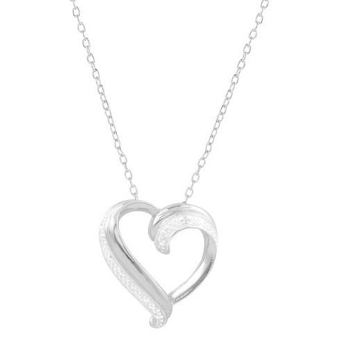 1/10 CT. T.W. Round-cut Diamond Heart Pave Set Necklace in Sterling Silver - Silver - image 1 of 2