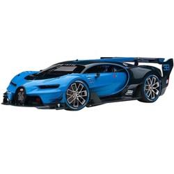 """Bugatti Vision Gran Turismo """"16"""" Bugatti Light Blue Racing and Blue Carbon Fiber 1/18 Model Car by Autoart"""