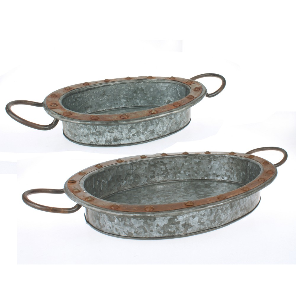 Image of 2pk Galvanized Steel Tray Set Silver - Stonebriar