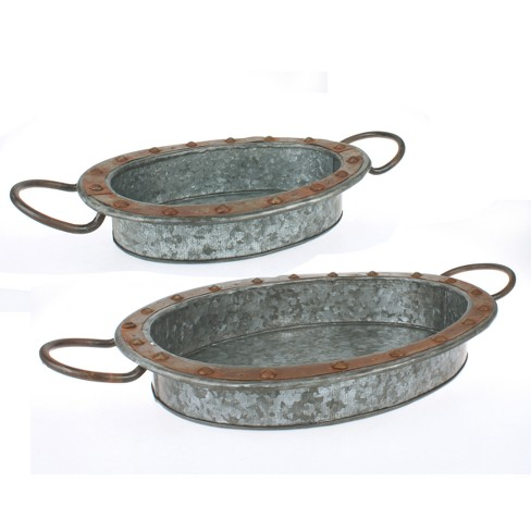 2pk Galvanized Steel Tray Set Silver - Stonebriar - image 1 of 4