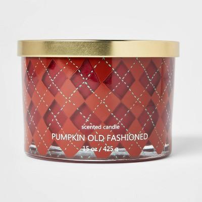 15oz Lidded Glass Jar Argyle 3-Wick Pumpkin Old Fashioned Candle - Opalhouse™