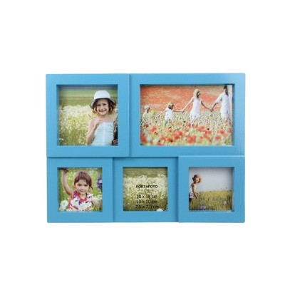 "Northlight 11.5"" Blue Multi-Sized Puzzled Collage Photo Picture Frame Wall Decoration"