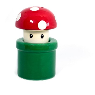 Nerd Block Super Mario Bros. Red Mushroom & Warp Pipe Salt & Pepper Shakers | Set Of 2