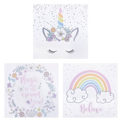 3pc Rainbow Unicorns Canvas Wall Art Set - Trend Lab