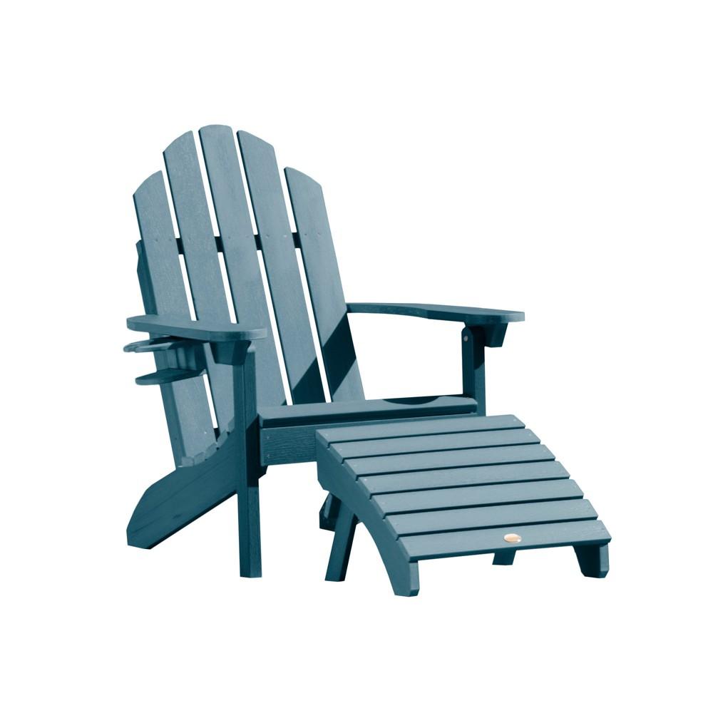 Classic Westport Adirondack Chair with Easy-Add Cup Holder & Folding Adirondack Ottoman Nantucket Blue - Highwood