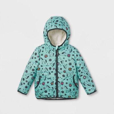 Toddler Girls' Reversible Puffer Jacket - Cat & Jack™ Mint