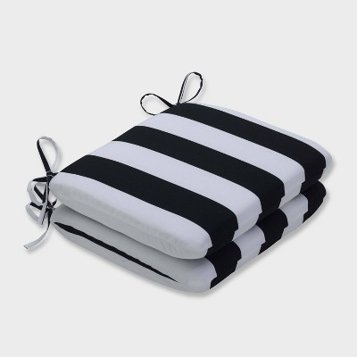 2pk Cabana Stripe Rounded Corners Outdoor Seat Cushions Black - Pillow Perfect