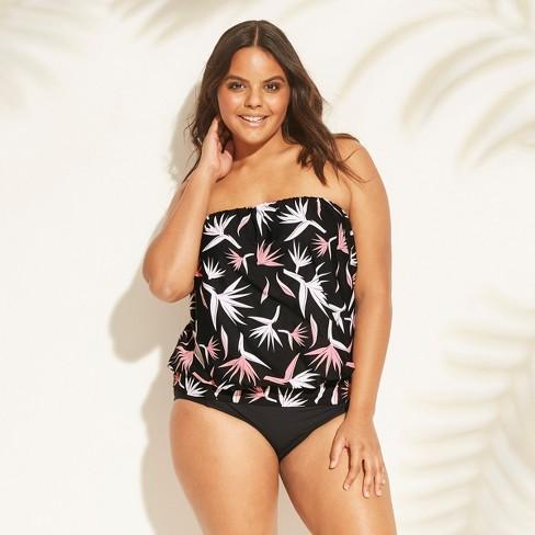 5be40ef248e Women's Plus Size Blouson Bandeau Tankini Top - Sea Angel Black : Target