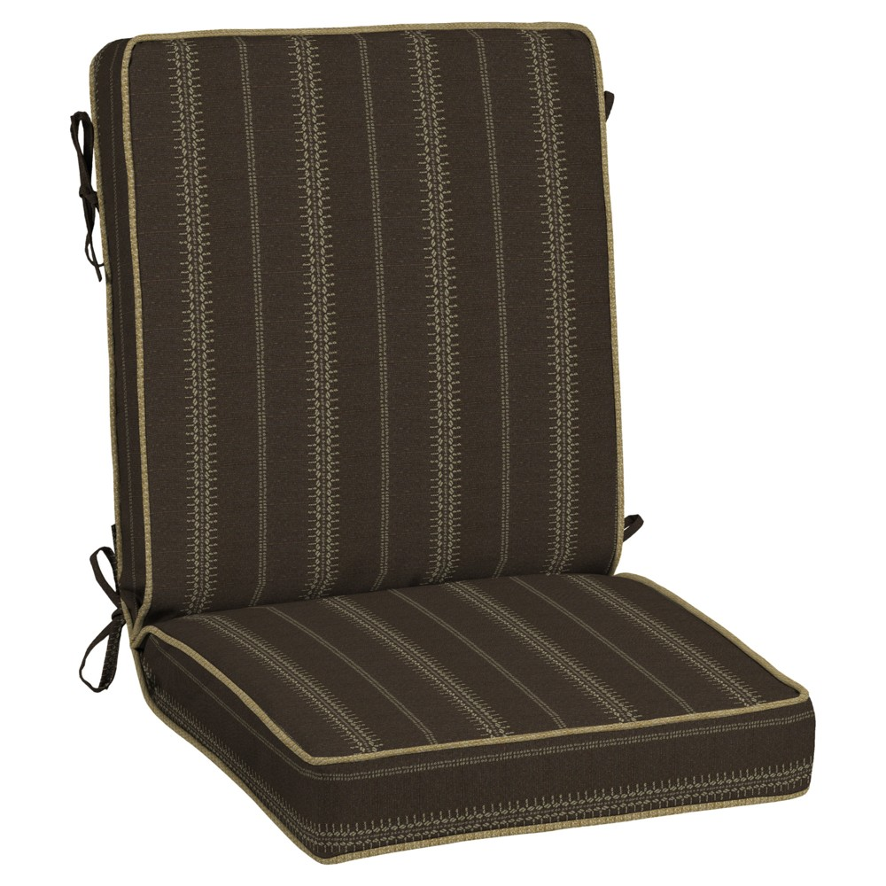 Image of Trevor Stripe Espresso Snap Dry Chair Cushion - Bombay Outdoors, Brown