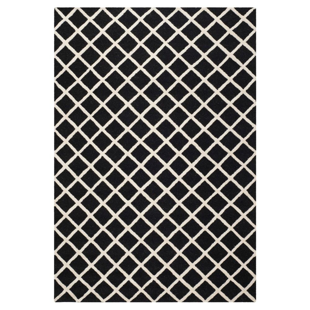 6'X9' Trellis Area Rug Black/Ivory - Safavieh