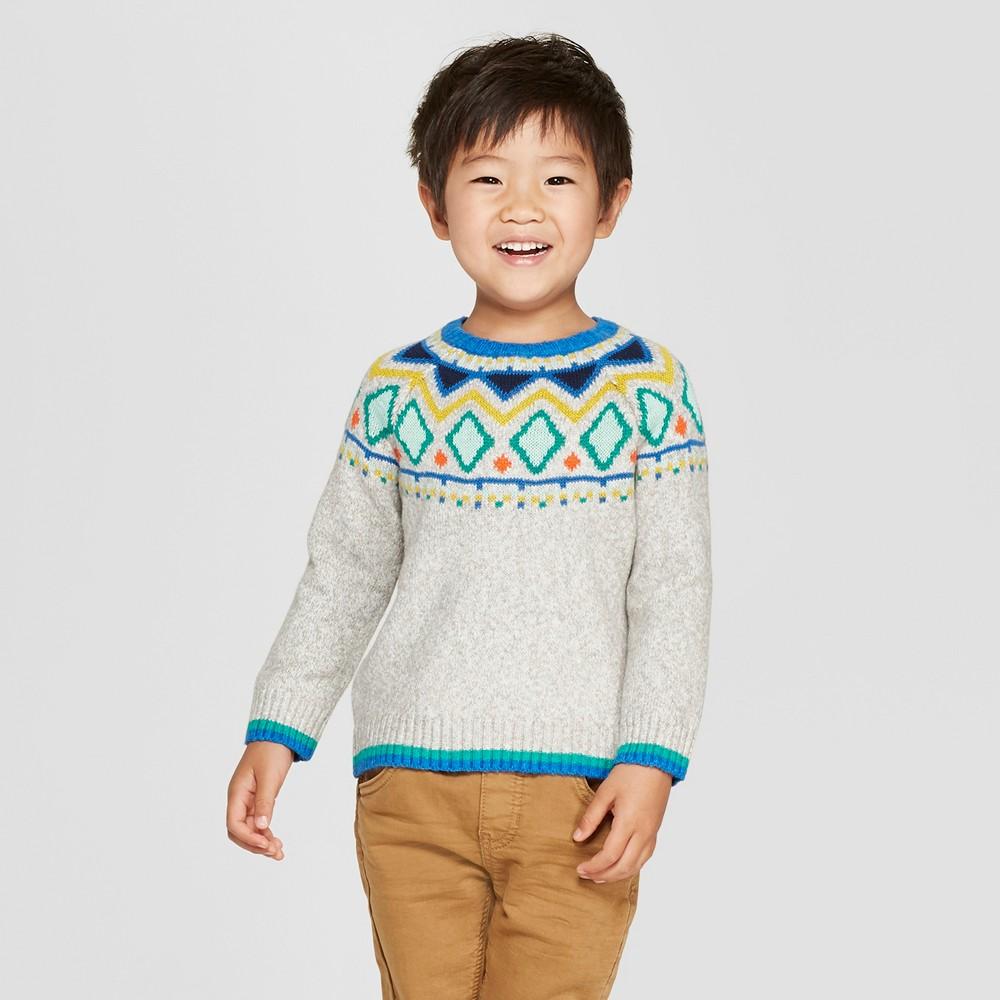 Toddler Boys' Fair Isle Sweater - Cat & Jack Heather Gray 5T