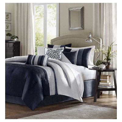 Salem 7 Piece Comforter Set- Navy (Queen)