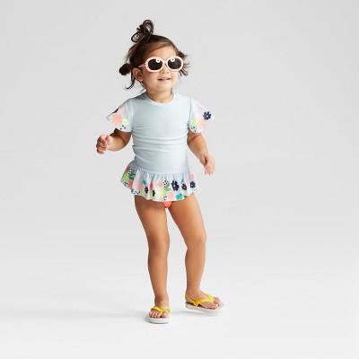 143d98a5ca Toddler Girls Floral Short Sleeve Rash Guard Set – Cat & Jack™ Blue ...