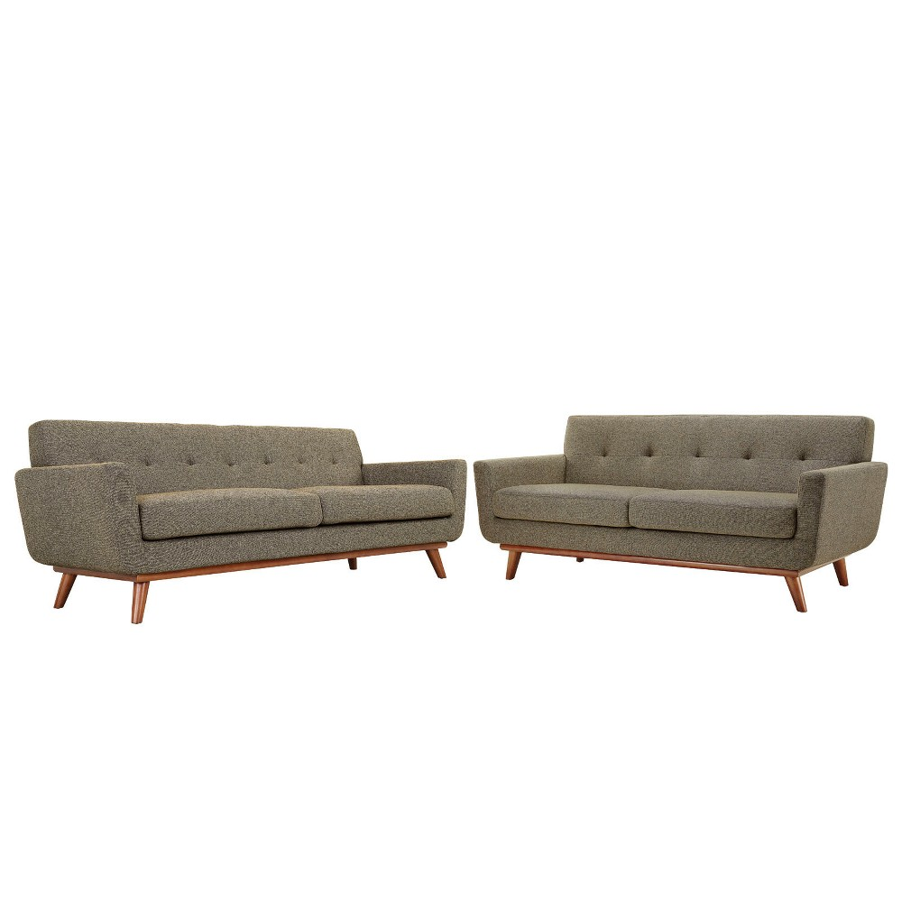 Engage Loveseat and Sofa Set of 2 Oat (Brown) - Modway