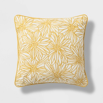 Snake Bait Square Embroidered Floral Pillow Yellow - Threshold™