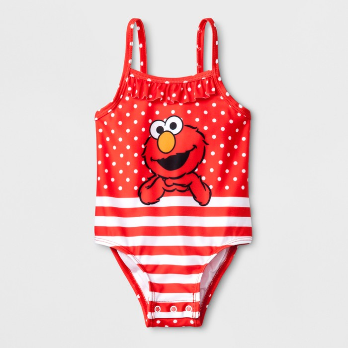Baby Girls' Sesame Street Elmo One Piece Swimsuit with Snaps - Red - image 1 of 2
