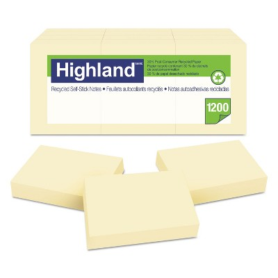 Highland Recycled Self-Stick Notes 1 3/8 x 1 7/8 Yellow 100 Sheets/Pad 12 Pads/Pack 6539RP
