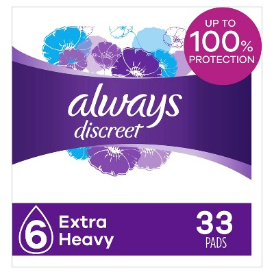 Always Discreet Incontinence and Postpartum Incontinence Pads for Women - Extra Heavy Absorbency - 33ct