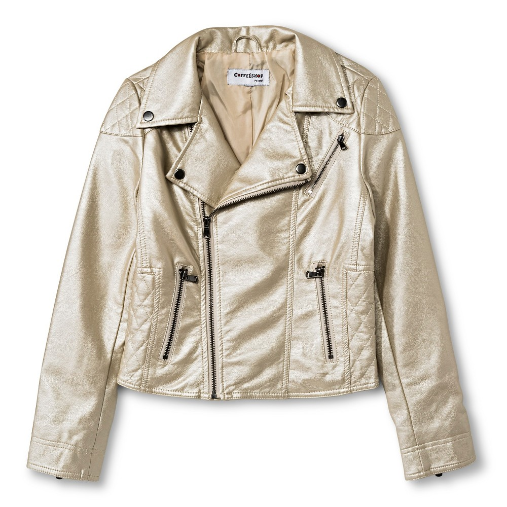 CoffeeShop Kids Girls' Pearlized Faux Leather Moto Jacket - Gold M