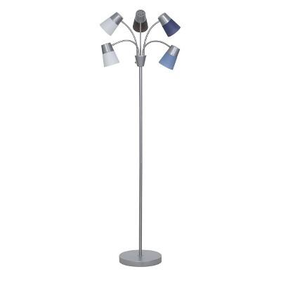 LED Adjustable 5-Head Floor Lamp Multi Blue/Silver (Includes Energy Efficient Light Bulb)- Room Essentials™