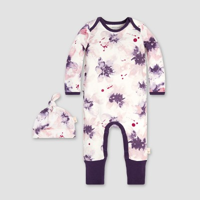 Burt's Bees Baby® Girls' Organic Cotton Exploded Petals Ruffle Coverall & Hat Set - Aubergine 6-9M