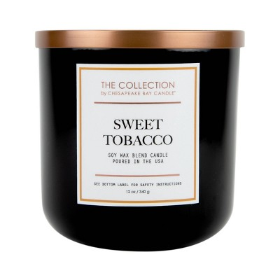 12oz Black Glass Jar 2-Wick Candle Sweet Tobacco - The Collection by Chesapeake Bay Candle