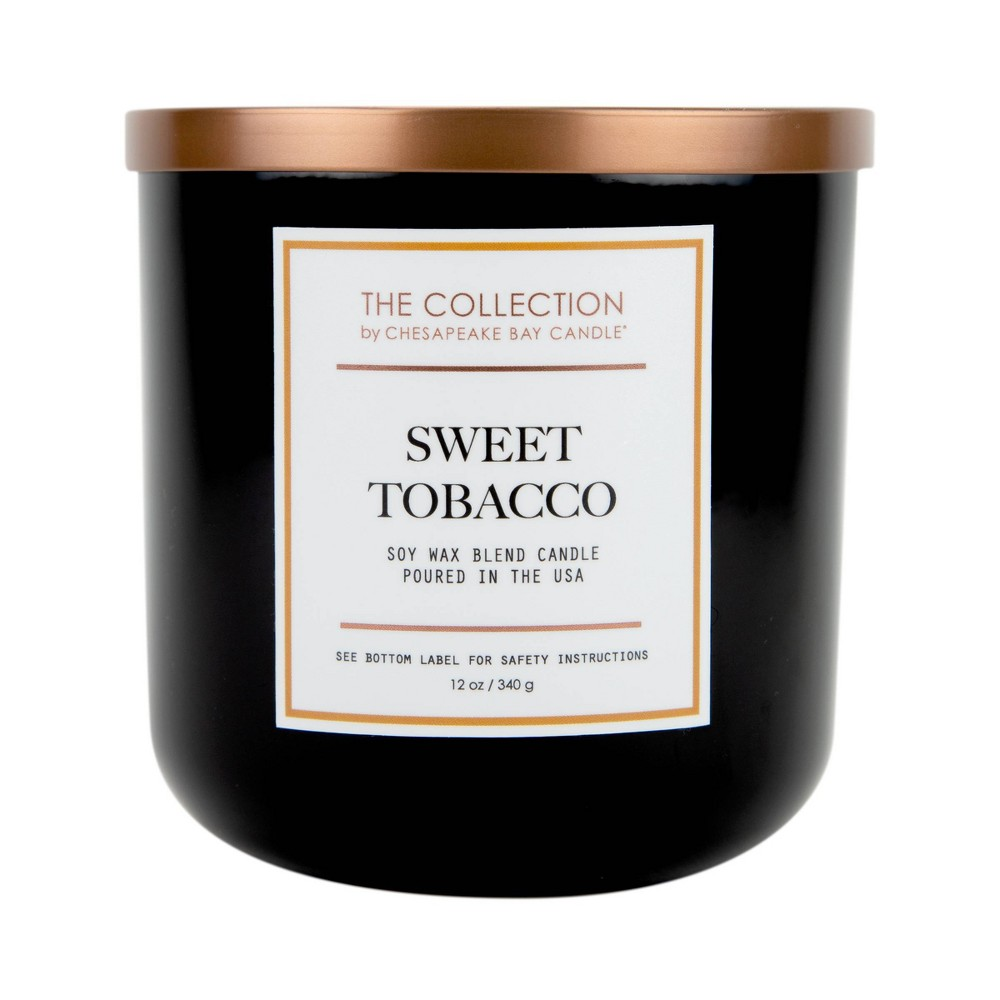 Image of 12oz Black Glass Jar 2-Wick Candle Sweet Tobacco - The Collection by Chesapeake Bay Candle