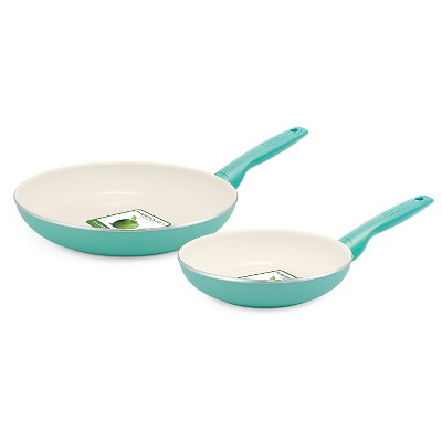 GreenPan Rio 8  and 10  Ceramic Non-Stick Cookware Set Turquoise