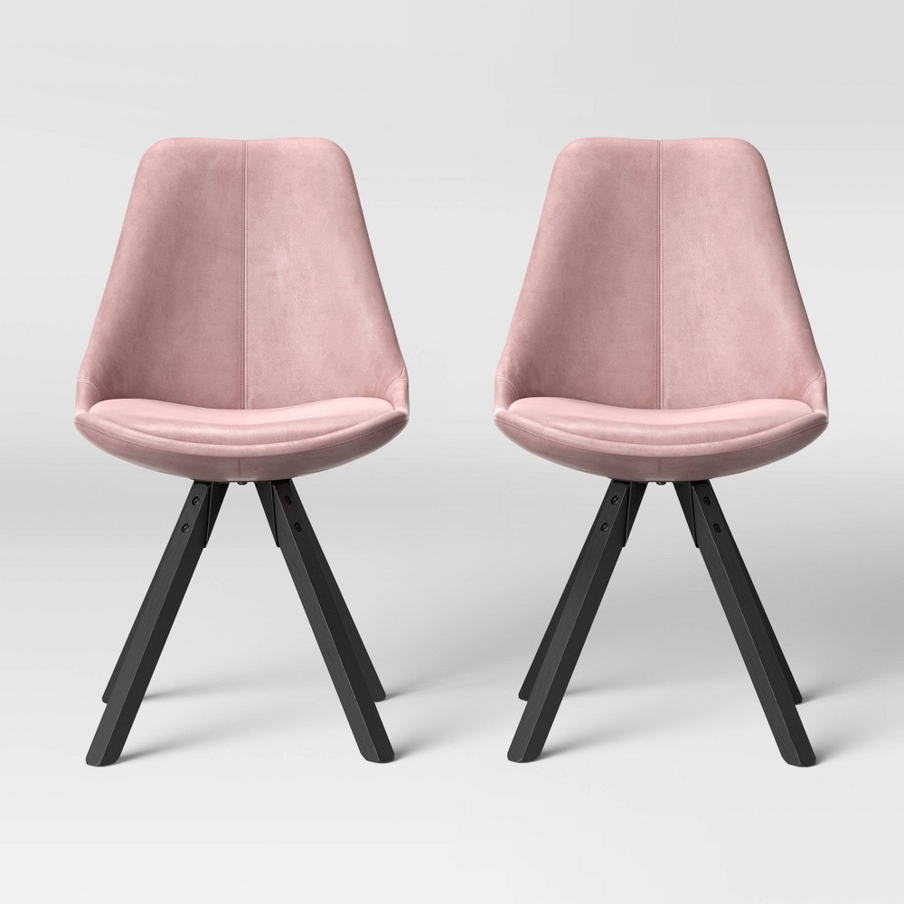 Set of 2 Russel Velvet Dining Chair Blush - Project 62