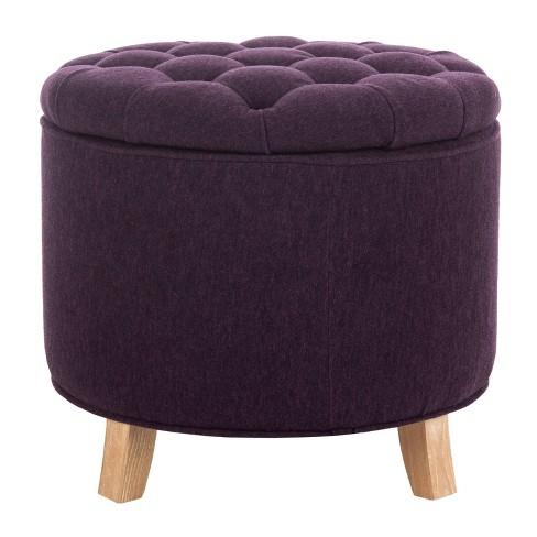 Stupendous Amelia Tufted Storage Ottoman Plum Safavieh Ncnpc Chair Design For Home Ncnpcorg