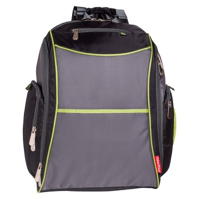 Fisher-Price Urban Backpack Diaper Bag - Black, Lime, Gray