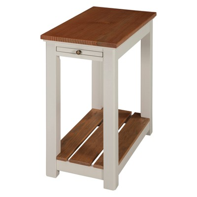 Savannah Chairside End Table with Pull Out Shelf Ivory with Natural Wood Top - Bolton Furniture
