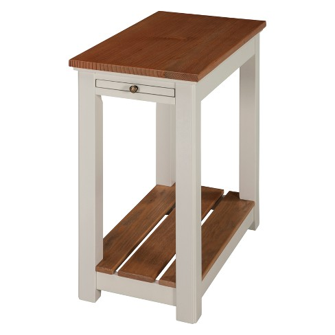 Savannah Chairside End Table With Pull Out Shelf Ivory With Natural Wood Top - Bolton Furniture - image 1 of 4