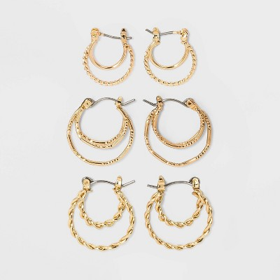 Gold-Tone Click Top Hoop Earring Set 3pc - Wild Fable™ Gold