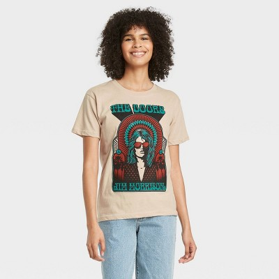 Women's the Doors Jim Morrison Short Sleeve Graphic T-Shirt - Beige